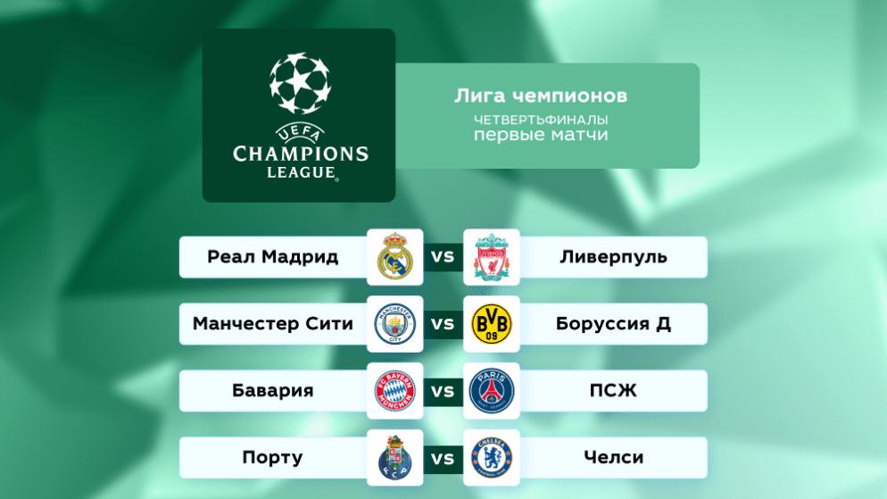 Футбол. Лига чемпионов. Четвертьфиналы. Первые матчи