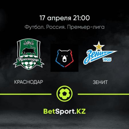 Краснодар – Зенит. Футбол. Россия. Премьер-лига. 17.04.2021 в 21:00 (UTC+5)
