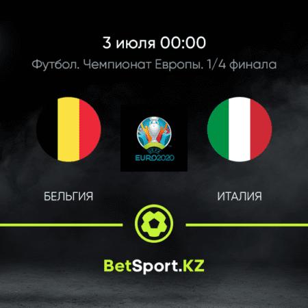 Бельгия — Италия. Футбол. Евро. Плей-офф. 1/4 финала. 03.07.2021 в 00:00 (UTC+5)